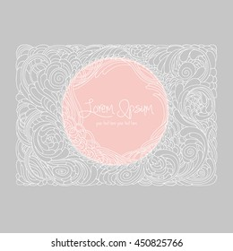 Card with flowers . Flower grey and white, pink. Vector illustration