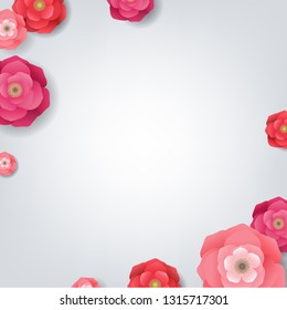 Card With Flowers With Gradient Mesh, Vector Illustration