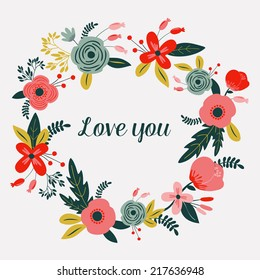 """Card with flowers. """"I Love you"""". Floral frame. Used for wallpaper, pattern fills, web page background,surface textures."""