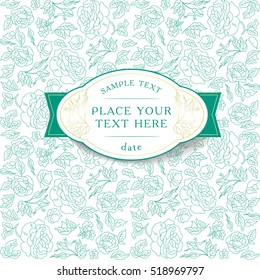 Card with flowers and text. Delicate mint color. A subtle pattern of lines
