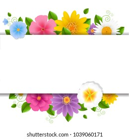 Spring flower border images stock photos vectors shutterstock card with flowers white background with gradient mesh vector illustration mightylinksfo