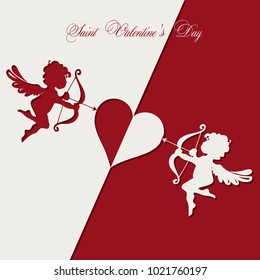 Card in the form of an applique with two angels and a heart. Saint Valentine's Day
