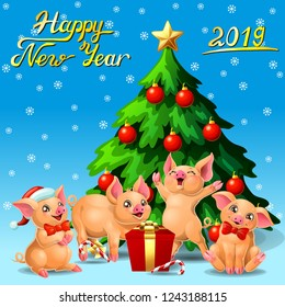 Card four joyful cute yellow pigs and a fir-tree with spheres and star and letters Happy New Year 2019 on blue with snowflakers. A vector illustration in cartoon style, vertical