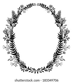 Card with frame of flowers and ferns, black silhouette