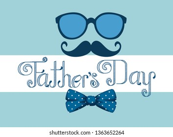 card with glasses and tie bow accessories to fathers day
