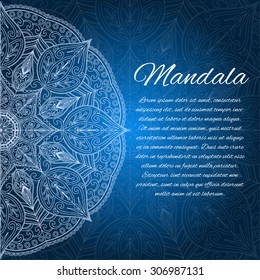 Card with glow mandala. Vector background. Blue invitation card. Geometric circle element.  Islam, Arabic, Indian, turkish, chinese, ottoman motifs