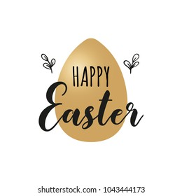 Card with golden Easter egg and handwritten inscription Happy Easter. Vector illustration. EPS 10.