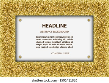 Card with golden glittering frame.
