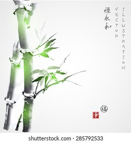 """Card with green bamboo in sumi-e style. Hand-drawn with ink. Vector illustration. Traditional Japanese painting. Contains hieroglyphs """"luck"""", """"happiness"""" (stamps), """"well-being"""", """"eternity"""", """"harmony"""""""