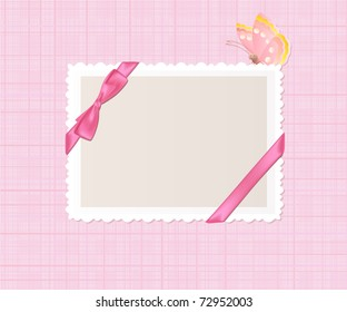 Card for greeting or congratulation on the pink  background