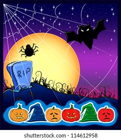 Card for Halloween, with a bat and gravestone
