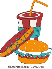 Card with hamburger, hot dog and milk shake