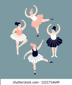 Card with hand drawn  ballerinas. Cute dancing girls isolated on blue background. Vector vintage illustration