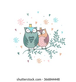 Card with hand drawn owls with flowers