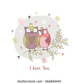 card with hand drawn owls with flowers.I love you