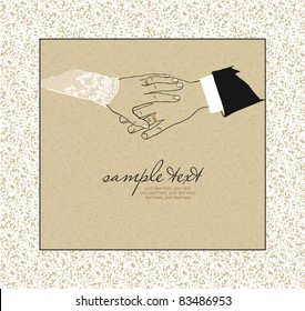 card with hand of the groom and the bride with wedding rings