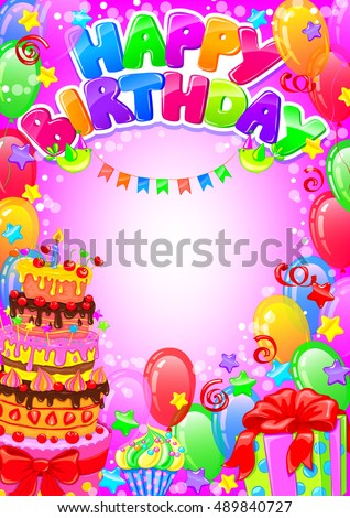 Card Happy Birthday With Balloons And Gifts