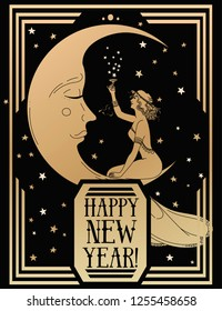 Card for happy new year in art deco style witn crescent  and retro woman  drinking champagne, black and gold, vector illustration
