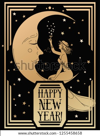 card for happy new year in art deco style witn crescent and retro woman drinking champagne