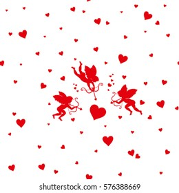 Card Happy Valentine's Day. Vector silhouette three Cupid to aim at target big red heart. It can be used as seamless pattern.