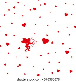 Card Happy Valentine's Day. Vector silhouette little cupid to aim at target heart. It can be used as seamless pattern.