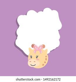 card with head of cute female giraffe baby