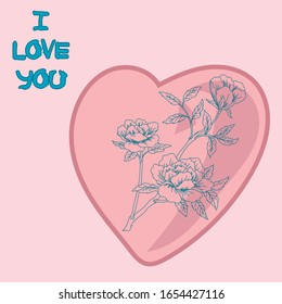 card with heart and flowers, pink, and the phrase