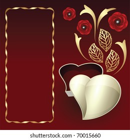 Card with heart gift box, gold decor and roses