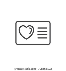 Card with heart line icon, outline vector sign, linear style pictogram isolated on white. Loyalty card symbol, logo illustration. Editable stroke. Pixel perfect vector graphics