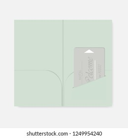 Card holder with interior pockets and hotel key card inside. Vector template.