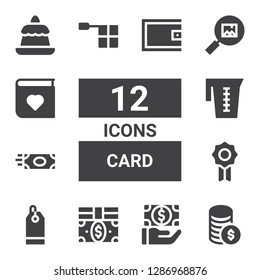 card icon set. Collection of 12 filled card icons included Money, Payment, Bills, Price tag, Badge, Jar, Offside, Picture, Photo album, Pudding, Wallet