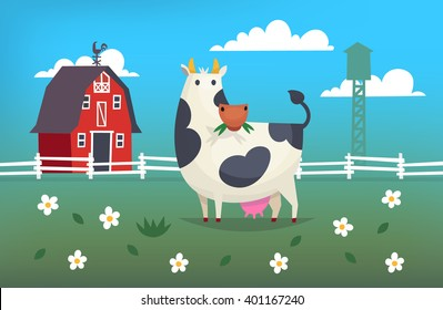 Card illustration with a cow eating grass on a farm near red barn
