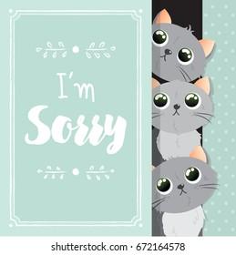 "Card ""I'm sorry"" with cartoon, kawaii cats. Vector illustration"