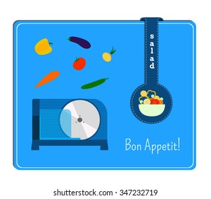 The card with the image of electric slicers and vegetables. Label the plate with salad.