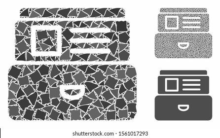 Card index mosaic of bumpy parts in various sizes and color hues, based on card index icon. Vector rough parts are organized into collage. Card index icons collage with dotted pattern.