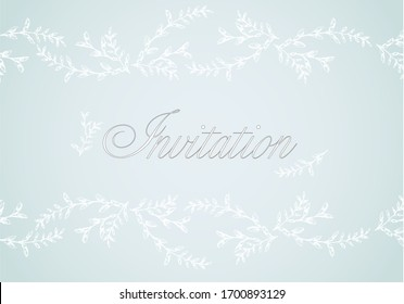 Card, invitation with frame from leaves and floral branches in light blue color.