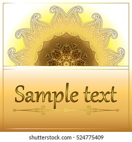 Card or invitation with oriental pattern in Indian, Arabic, Islamic, Turkish style, with  circular floral ornament.