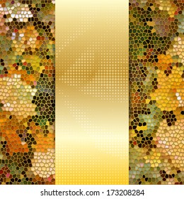 Card or invitation template with maple leaves stained glass mosaic and place for text in the center.