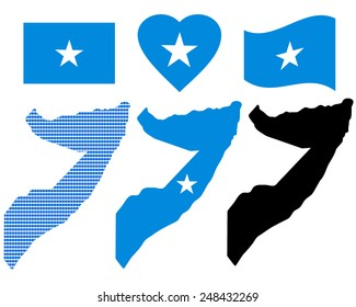 Card Islands Somalia different types and symbols on a white background