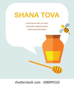 "card for Jewish new year holiday Rosh Hashanah. illustration.  ""Happy New Year"" (Hebrew)"