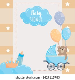 card with label and teddy bear with feeding bottle