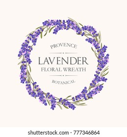 Card with lavender wreath