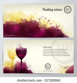 Card, leaflet or banner background with colorful spots and wine. Illustration glass of wine. Expressive design background. vector
