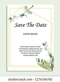 Card with leaves and geometrical frame. Wedding ornament concept. Floral poster, invite. Vector decorative greeting card, invitation design background
