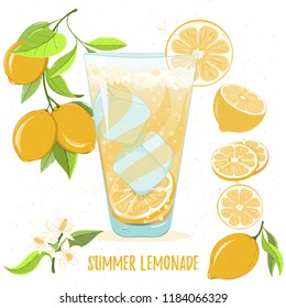 Card of lemonade glass and lemons isolated on white background. Citrus elements for invitations, menu, juice, food, cosmetics or health products. Healthy food for summer cafe and bar advertising.