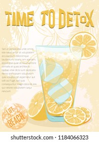Card of lemonade glass and lemons on light background. Citrus elements for invitations, menu, juice, food, cosmetics or health products. Healthy food for summer cafe and bar advertising.