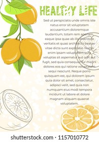 Card of lemons on light background. Citrus elements for invitations, menu, juice, food, cosmetics or health products. Healthy food products for summer cafe and bar advertising.