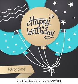 Card with lettering happy birthday. Illustration vector
