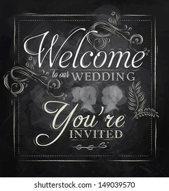 Card lettering welcome to our wedding you invited, in retro style drawing with chalk on chalkboard background.