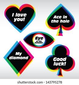 Card Logo Symbols in CMYK like style